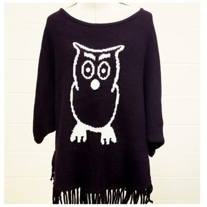 Black ND Owl Knit Sweater With Fringe Hemline Sm